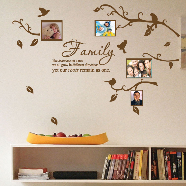 Family tree bird photo frame nursery art wall stickers for Phrases murales