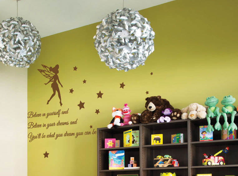 tinkerbell sterne kinder kinderzimmer wand sticker zitate. Black Bedroom Furniture Sets. Home Design Ideas