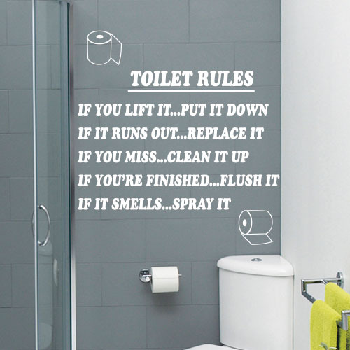 Toilet rules bathroom art wall quote stickers wall decals for Bathroom sayings for walls